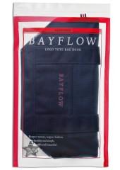BAYFLOW LOGO TOTE BAG BOOK NAVY×RED